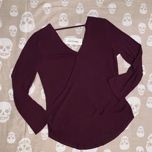 Surplice Bell Sleeve Sweater Blouse